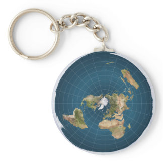 Flat Earth AE Azimuthal Equidistant Map Key Chain