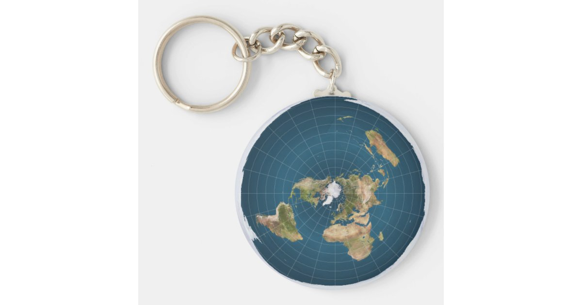 Flat earth ae azimuthal equidistant map key chain zazzle sciox Images