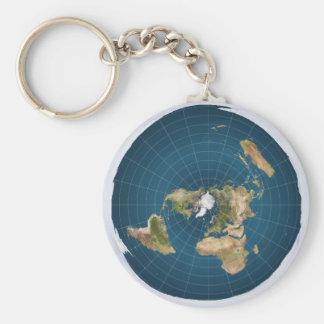 Flat Earth AE Azimuthal Equidistant Map Key Ring 2 Keychain