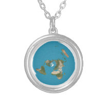 Flat Earth AE Azimuthal Map Small Pendant Necklace