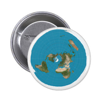 Flat Earth AE Azimuthal Projection Map Button Pin