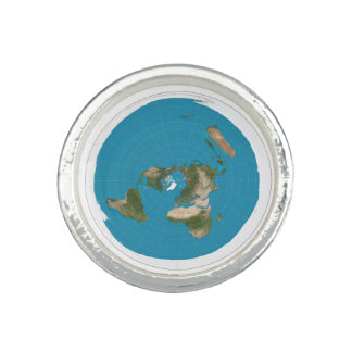 Flat Earth Azimuthal AE Map Round Silver Ring