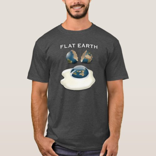 Flat Earth Cracked Dark T_Shirt with eggs