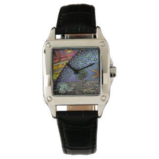 Flat Earth Flammarion Woodcut Square Leather Watch