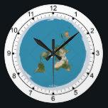 "Flat Earth Large Wall Clock<br><div class=""desc"">Flat Earth Large Wall Clock Peirce quincuncial projection map</div>"