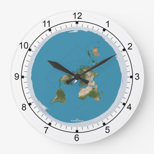 Flat Earth Large Wall Clock Zazzlecom