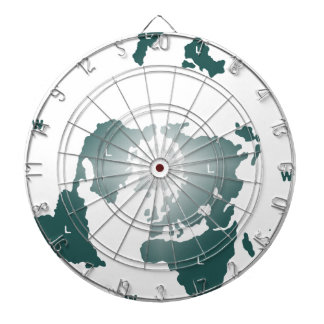 Flat Earth Map, Azimuthal Equidistant Map Zetetic Dartboard With Darts