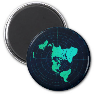 Flat Earth Map (Azimuthal equidistant projection) 2 Inch Round Magnet