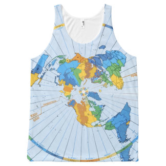 Flat Earth Map - Azimuthal Equidistant Projection All-Over-Print Tank Top