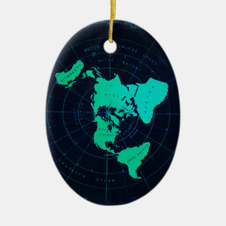 Flat Earth Map (Azimuthal equidistant projection) Ceramic Ornament