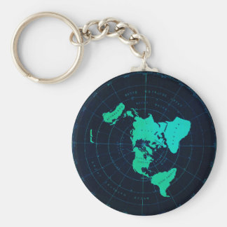 Flat Earth Map (Azimuthal equidistant projection) Keychain