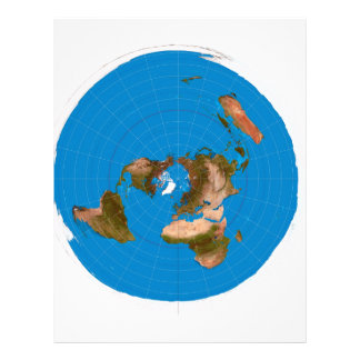 Flat Earth Map - Azimuthal Equidistant Projection Letterhead