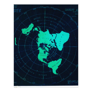 Flat Earth Map (Azimuthal equidistant projection) Letterhead