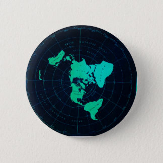 Flat Earth Map (Azimuthal equidistant projection) Pinback Button