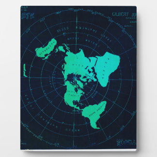 Flat Earth Map (Azimuthal equidistant projection) Plaque