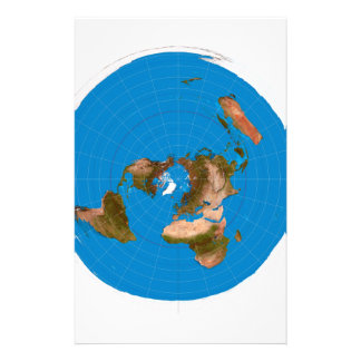 Flat Earth Map - Azimuthal Equidistant Projection Stationery