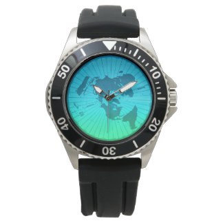 Flat Earth Map - Azimuthal Equidistant Projection Wrist Watches