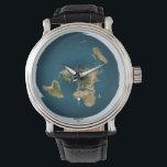 "Flat Earth Map Wrist Watch<br><div class=""desc"">Azimuthal Equidistant Map</div>"