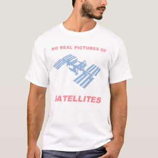 Flat Earth - No Real Pictures of Satellites T-Shirt