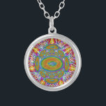 """Flat Earth original painting silverplated Necklace<br><div class=""""desc"""">Flat Earth original painting silver plated necklace.Hidden Mountain original painting featuring a flat earth design.</div>"""