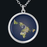 """Flat Earth Small Silver Plated Round Necklace<br><div class=""""desc"""">Flat Earth Small Silver Plated Round Necklace . Great conversation piece. Gift for Earth lovers. Available in many other styles as well.Includes chain,  and velvet gift bag.</div>"""