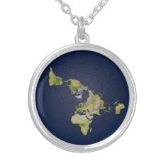 Flat Earth Small Silver Plated Round Necklace at Zazzle