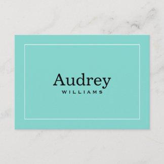 Flat Elegant Wedding Monogram Aqua Blue and Black Note Card