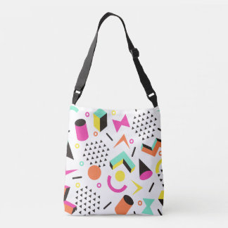 Flat Geometric Squiggly Memphis bold pattern 1980s Crossbody Bag