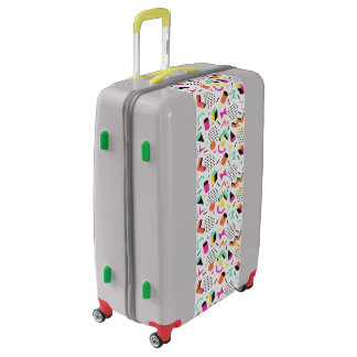 Flat Geometric Squiggly Memphis bold pattern 1980s Luggage