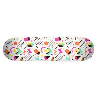 Flat Geometric Squiggly Memphis bold pattern 1980s Skateboard Deck