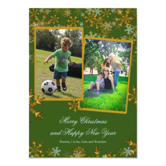 Flat Green and Gold Christmas Photo Cards
