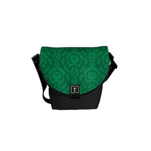 Flat Green Damask Pattern Courier Bag