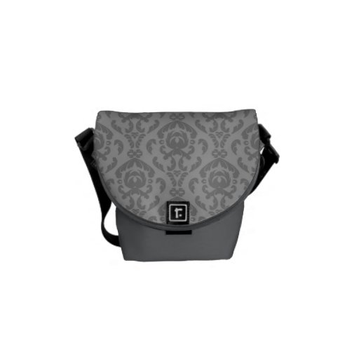 Flat Grey Damask Pattern Courier Bags