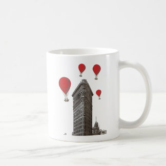 Flat Iron Building and Red Hot Air Balloons Coffee Mug