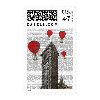 Flat Iron Building and Red Hot Air Balloons Postage