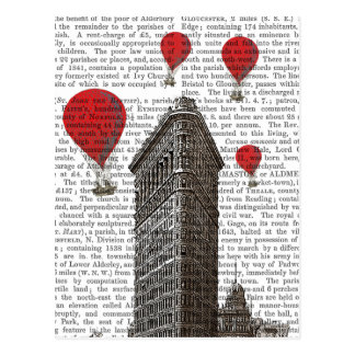 Flat Iron Building and Red Hot Air Balloons Postcard