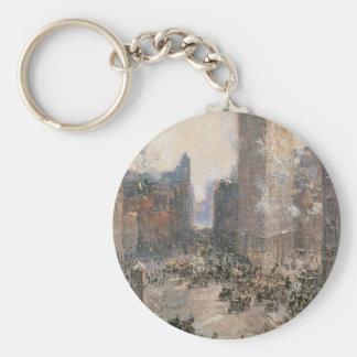 Flat Iron Building, New York circa 1908 Basic Round Button Keychain