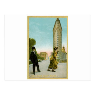 Flat Iron Building, New York Vintage Humor Card
