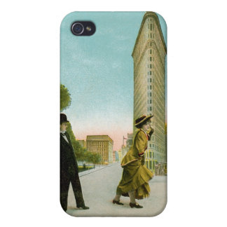 Flat Iron Building, New York Vintage Humor Card iPhone 4 Covers