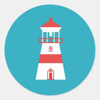 Flat lighthouse on turquoise background classic round sticker