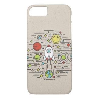 Flat Line Art - Space iPhone 7 Case
