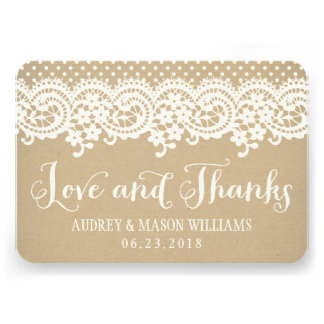 Flat Love and Thanks Card Kraft Brown
