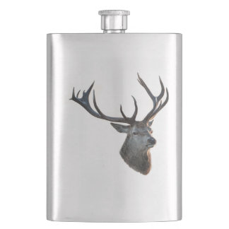 Flat man with deer head - 100% stainless steel hip flask