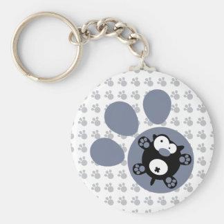 Flat puppy(Blue Gray) Basic Round Button Keychain