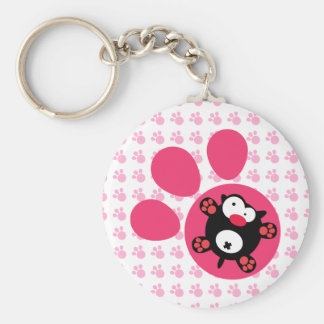 Flat puppy basic round button keychain