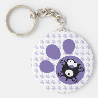 Flat puppy(Purple) Basic Round Button Keychain