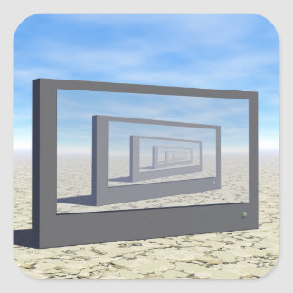 Flat Screen Desert Scene Square Sticker