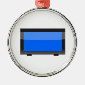 Flat Screen TV Round Metal Christmas Ornament
