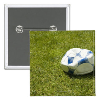 Flat soccer ball in grass, Germany Pinback Button