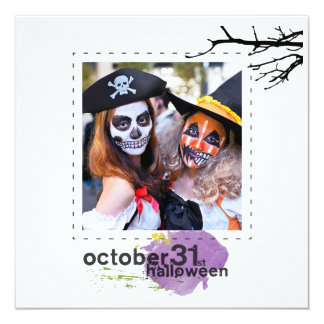 Flat square photo halloween greeting cards
